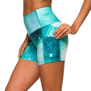 Women's Colorful High Waist Workout Shorts with Phone Pocket