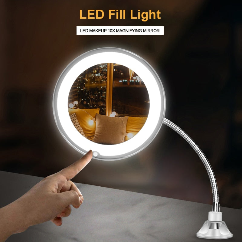 10X Magnifying LED Lighted Flexible Mirror