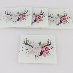 Coaster Set- Boho Floral Cow Head