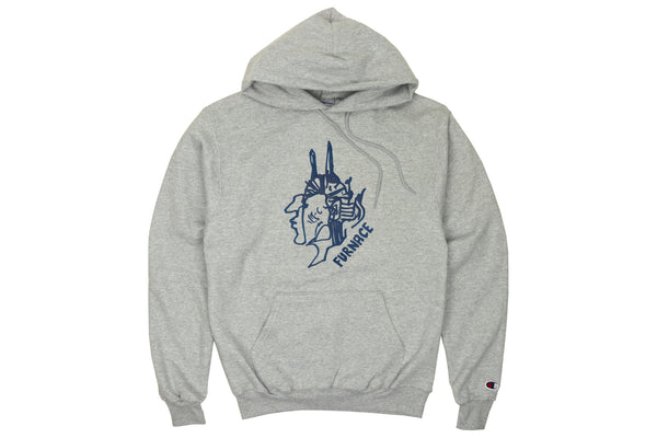 Gonz For Furnace Hoodie - Light Heather/Navy Puff