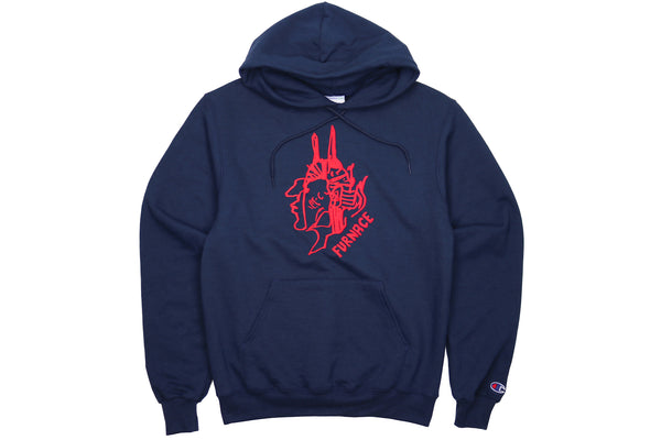 Gonz For Furnace Hoodie - Navy/Red Puff