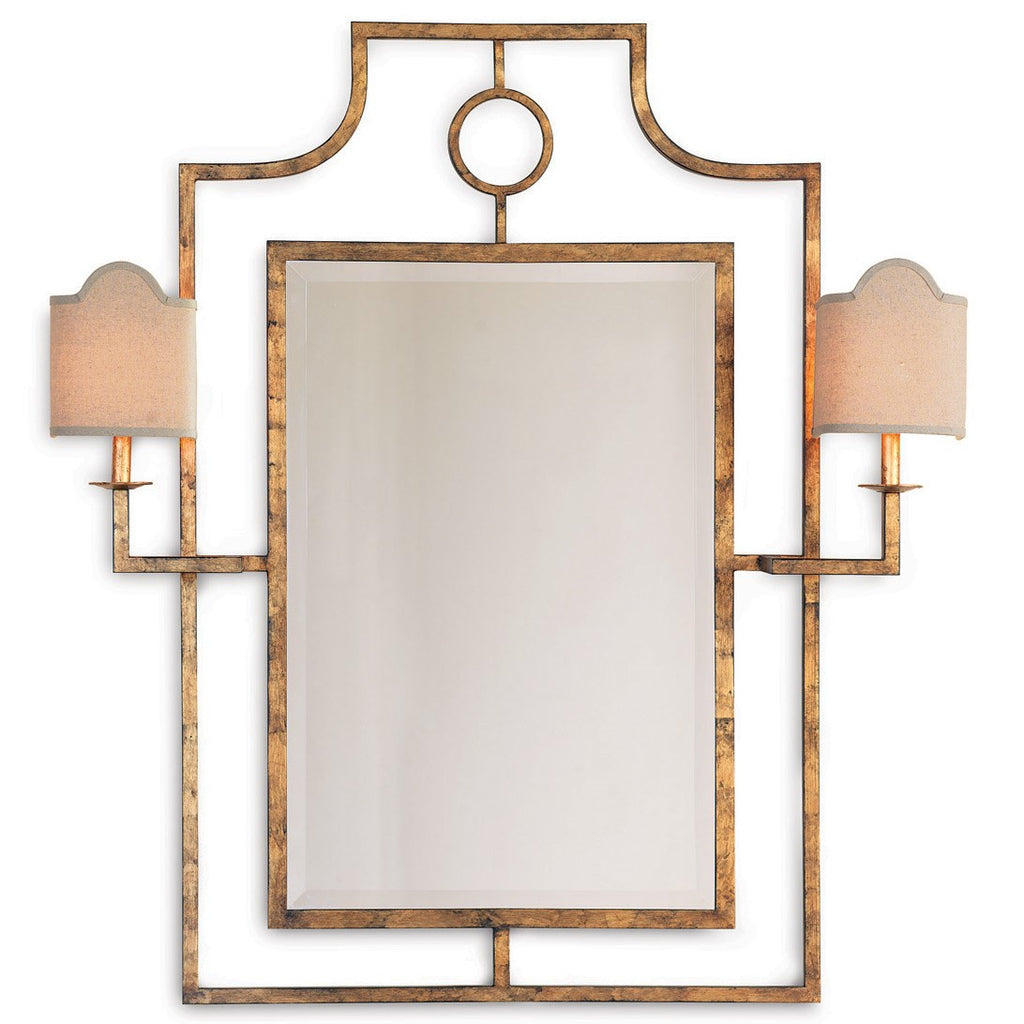 Drea Double Sconce Gold Mirror
