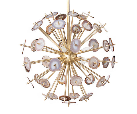 Brass Agate Burst Chandelier