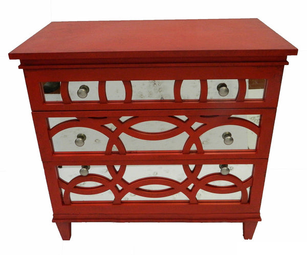 Chloe Red Mirrored Chest