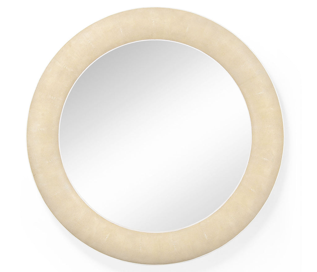 Cream Faux Shagreen Deco Mirror