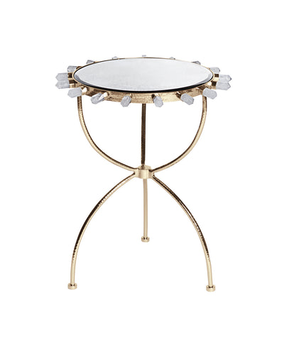 Lola Quartz Side Table in Brass