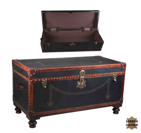 Vintage Black Leather Theatre Trunk / Table
