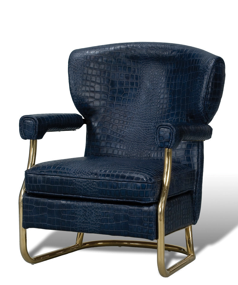 Navy Croc Arm Chair