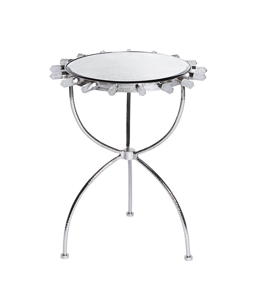 Lola Quartz Side Table in Nickel