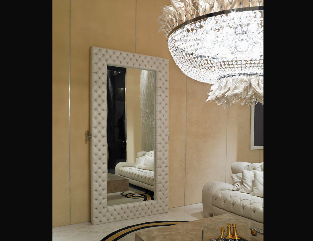 Iris Leather Tufted Mirror
