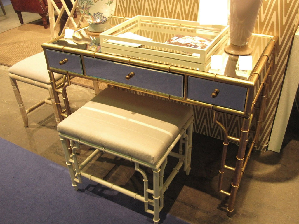 Hollywood Regency Gold Bamboo Desk