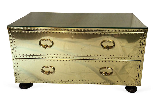 Vintage Brass Two Drawer Trunk