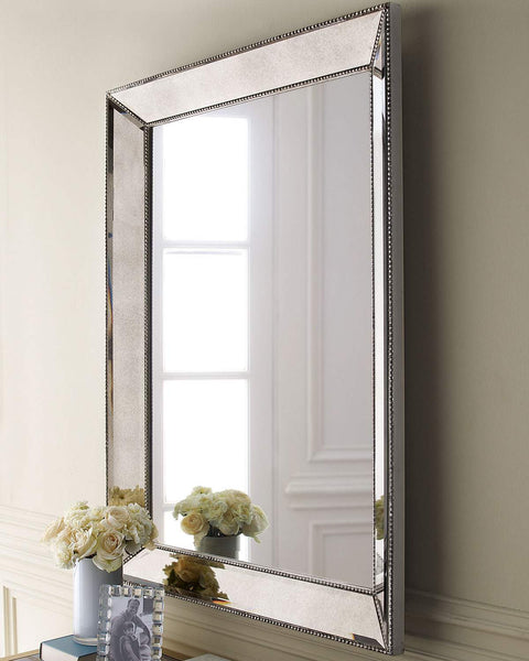 Silver Beaded Wall Mirror 36.5""