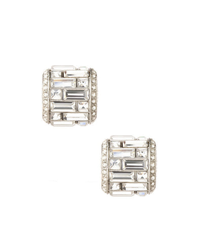 Deco Crystal Baguette Button Earrings