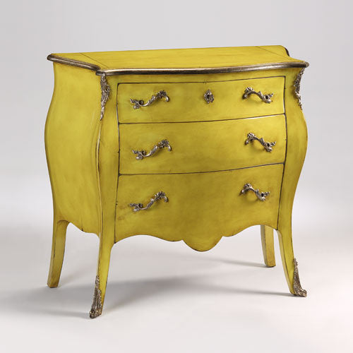 Yellow Louis XV Bombe Chest