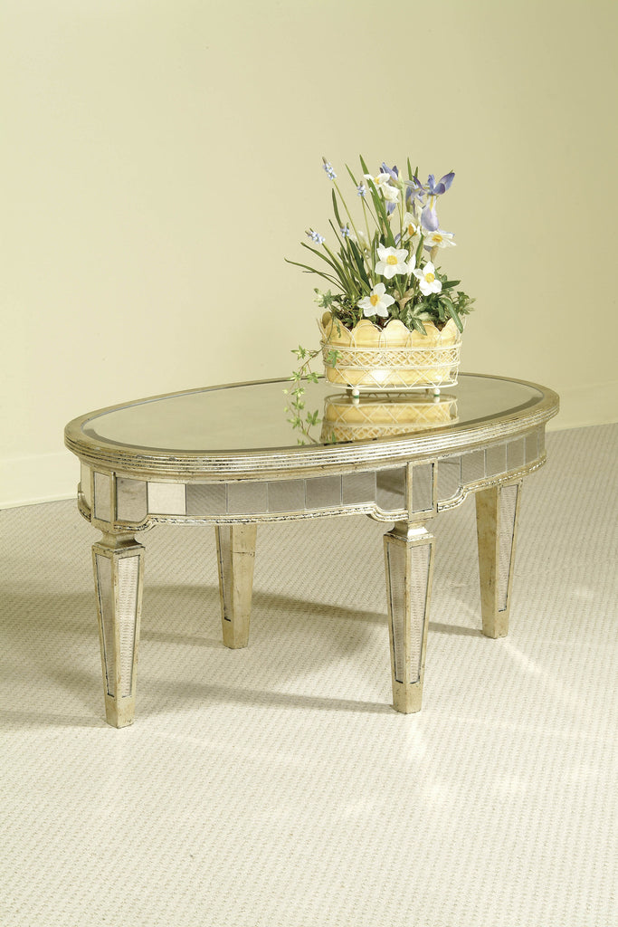 Mirrored Oval Cocktail Table