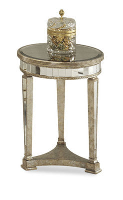 Borghese Round Mirrored End Table