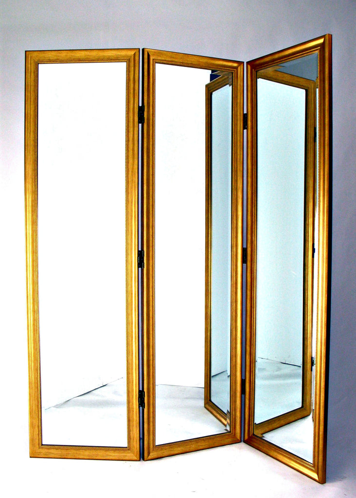 Angie Mirrored Room Divider in Gold