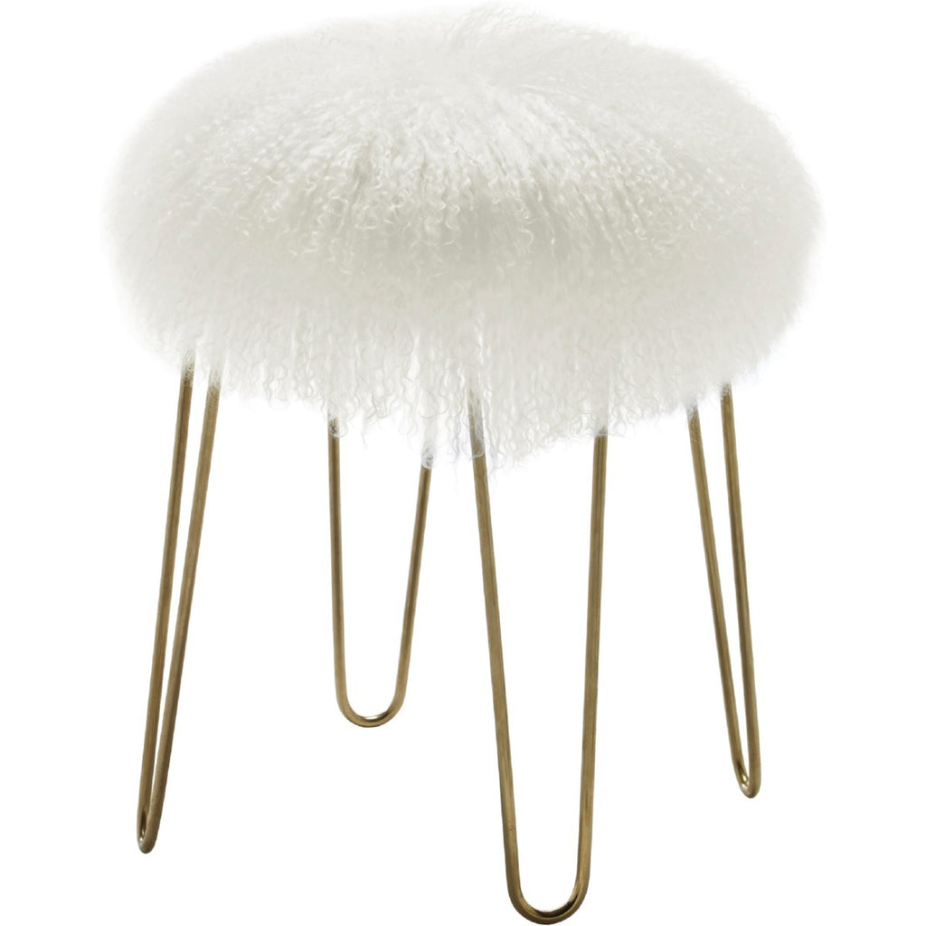 Delore White Sheepskin Stool