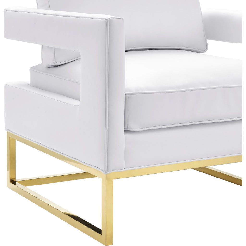 Eva White Leather Cube Chair