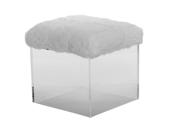 Bella Rabbit Fur Stool