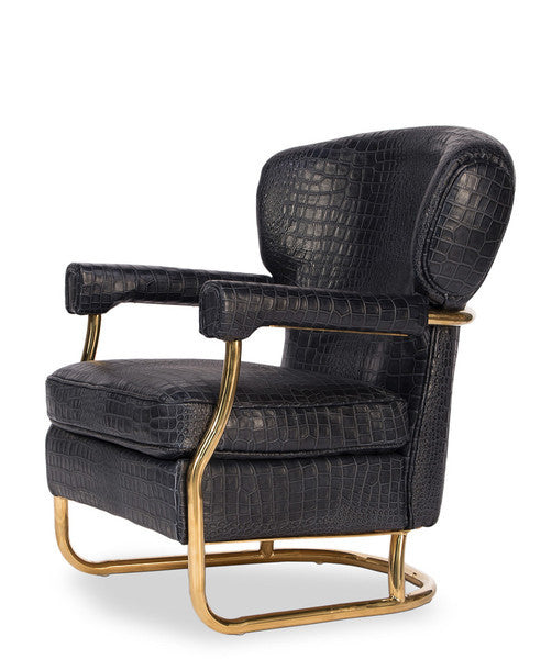 Kris Black Croc and Brass Armchair