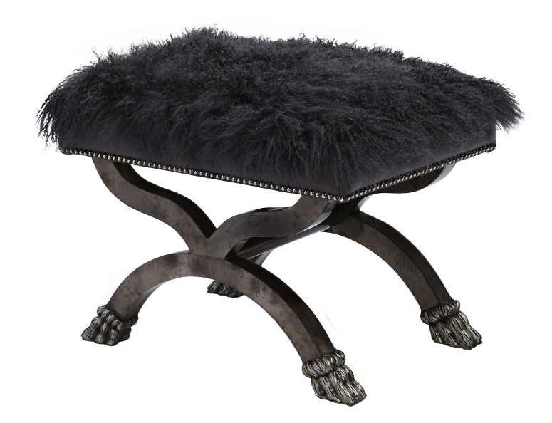 Lana Tibetan Sheepskin Bench in Black