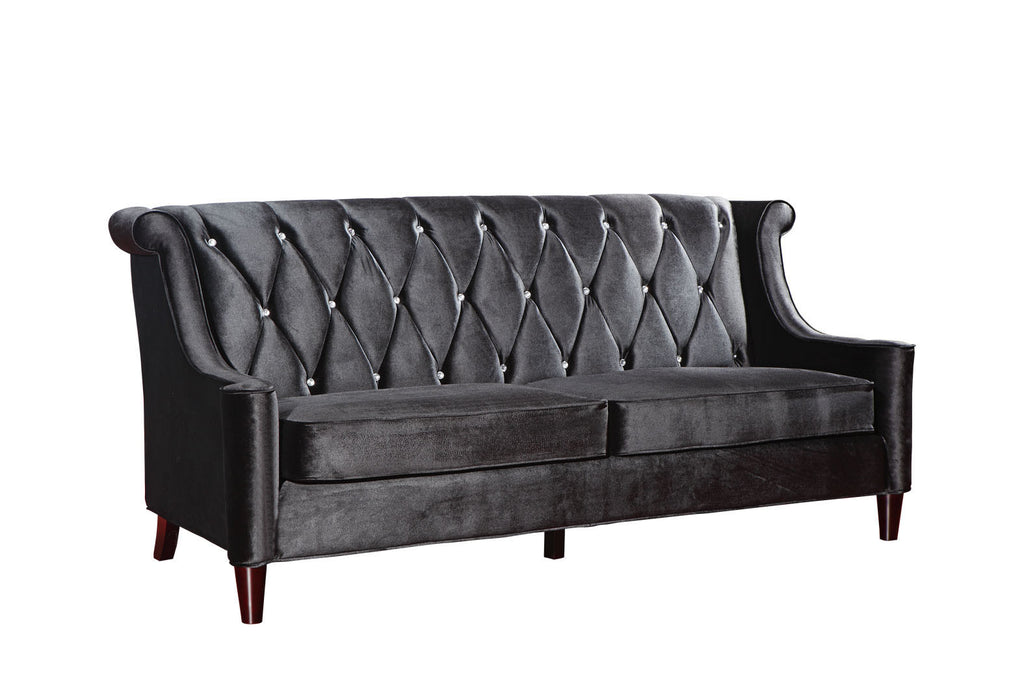 Barrister Velvet Sofa in Black