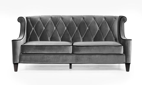 Barrister Velvet Sofa in Mink Gray