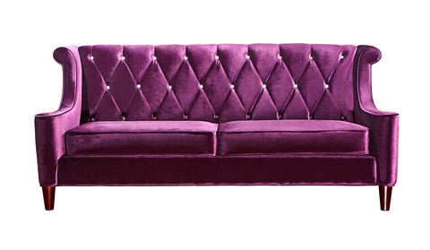 Barrister Velvet Sofa in Purple