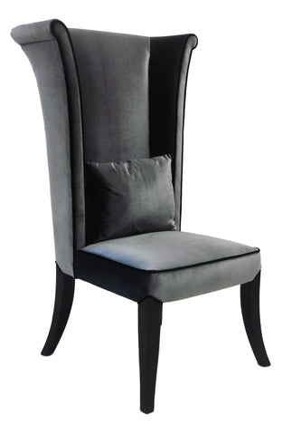 Mad Hatter Velvet Dining Chair in Grey
