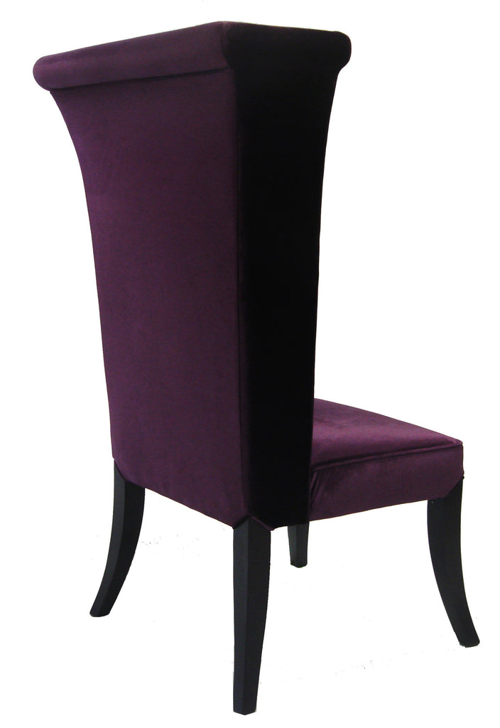 Mad Hatter Velvet Dining Chair in Eggplant