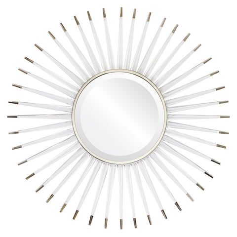 Liana Acrylic Sunburst Mirror - Nickel