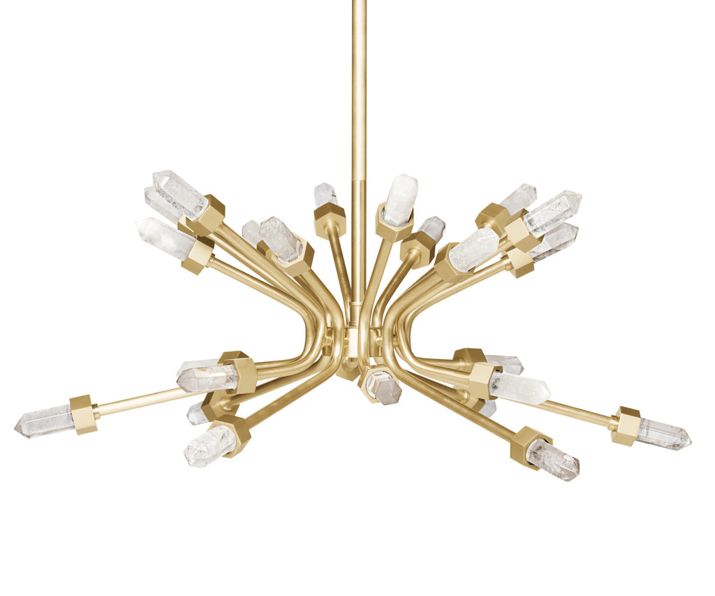 Lola Brass Quartz Chandelier