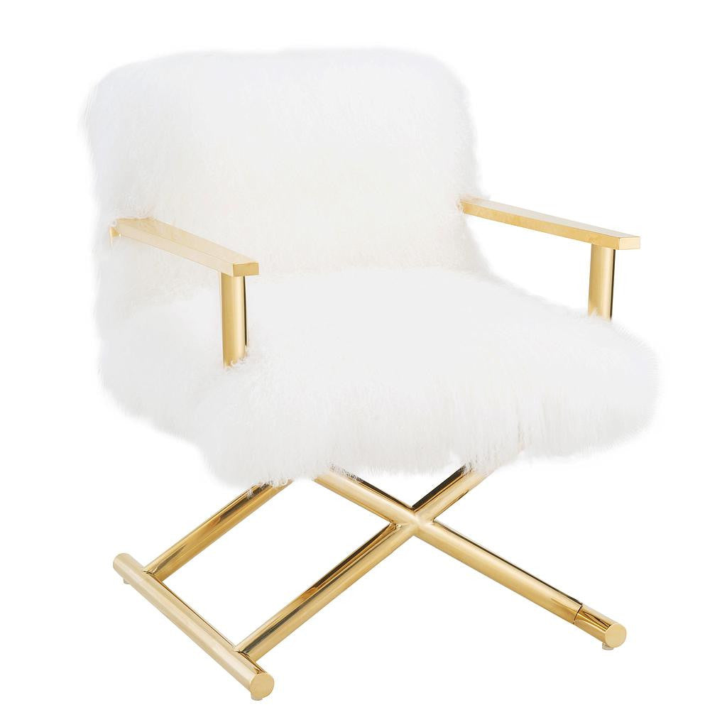 Scarlett White Sheepskin Director's Chair