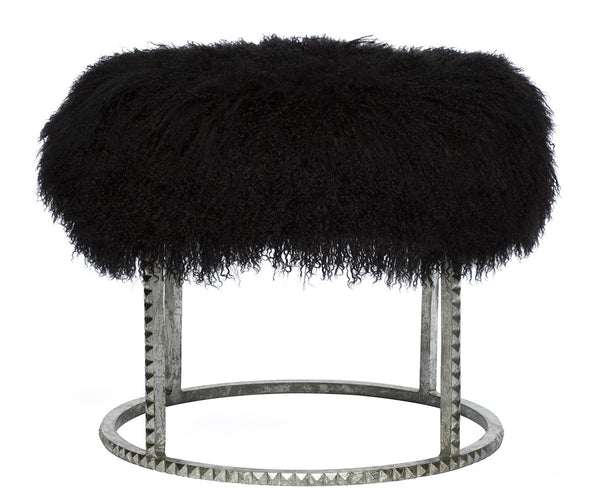 Roe Studded Lamb Stool in Black