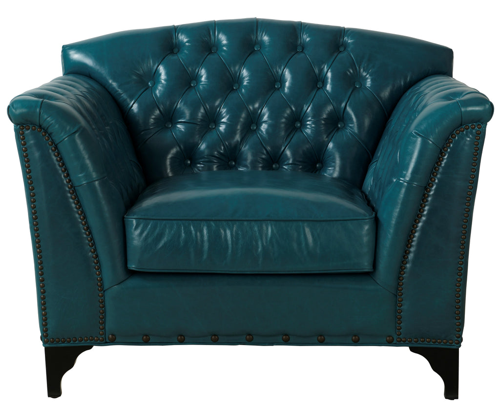 Jamison Peacock Leather Chair