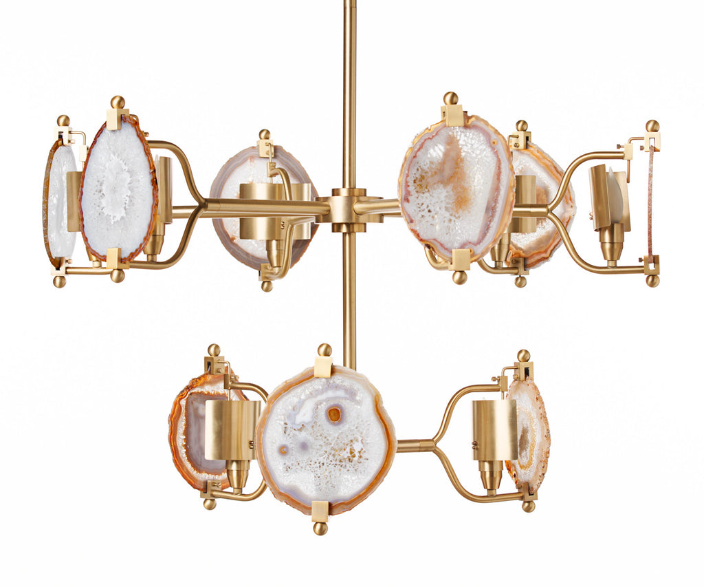 Brass Two Tier Ball Agate Chandelier