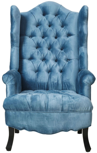 Madison Velvet Wingback Chair - Blue