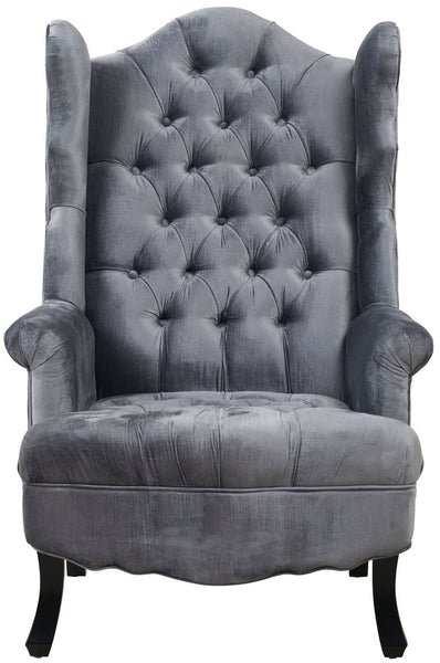 Madison Velvet Wingback Chair - Grey