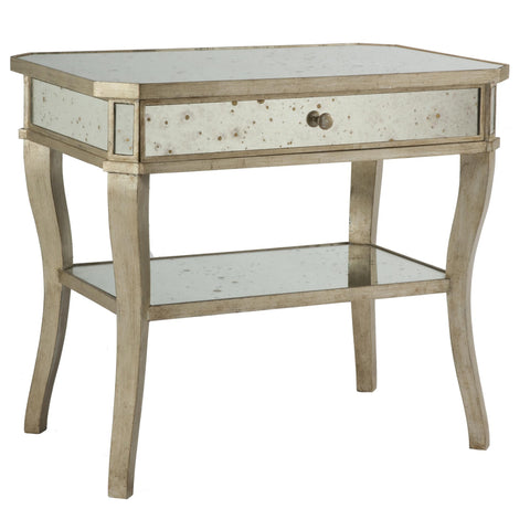 Distressed Mirror Side Table