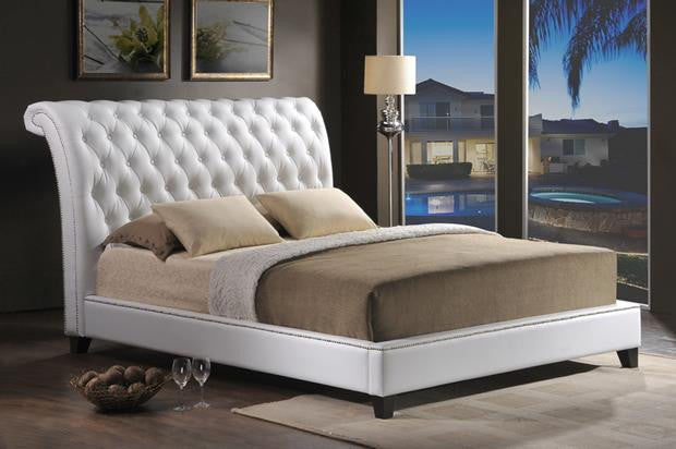 Brie Tufted Leather Platform Bed