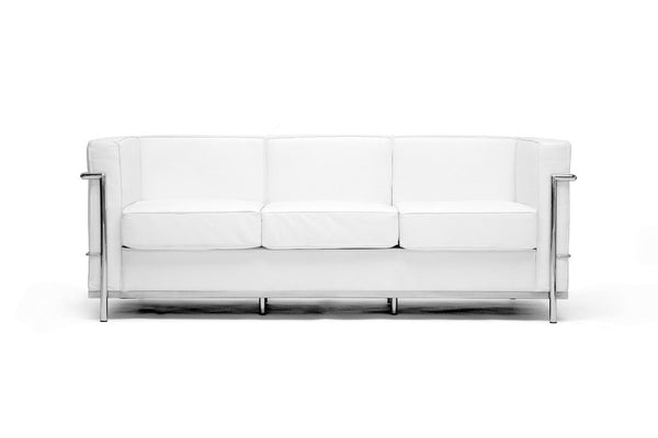 Kat White Leather Sofa