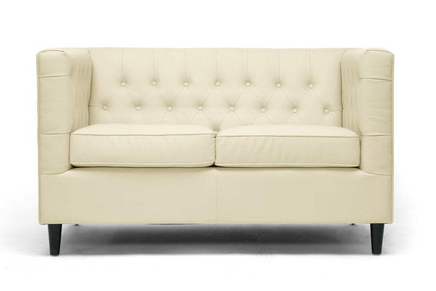 Chloe Tufted Leather Loveseat