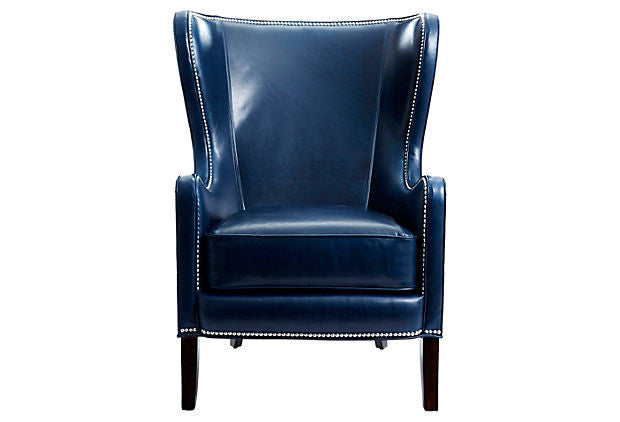 Keaton Leather Wingback Chair in Navy