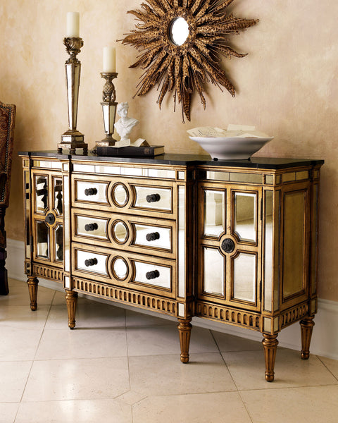 Tuscan Gold Leaf Mirrored Buffet