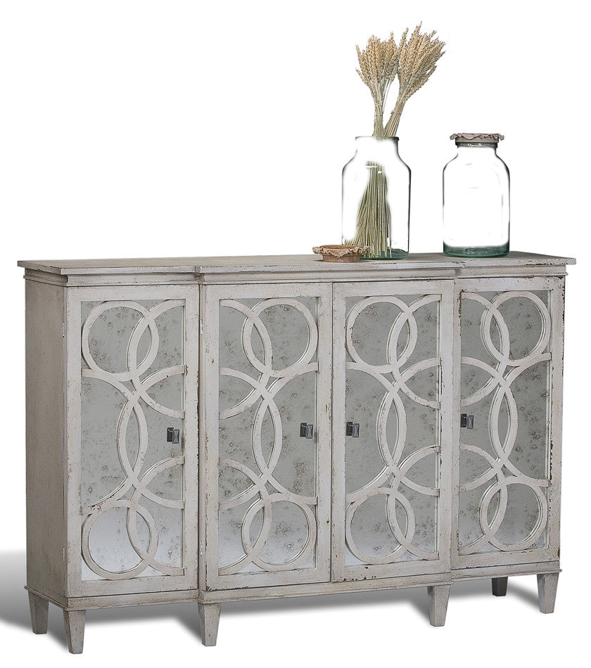 Danielle Mirrored Credenza in Antiqued White