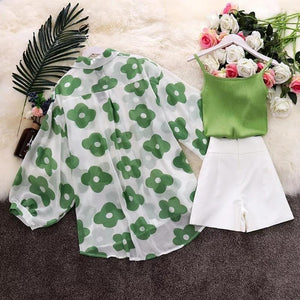 Hannah Floral Chiffon Shirt Three Piece Set - Made For Her Label