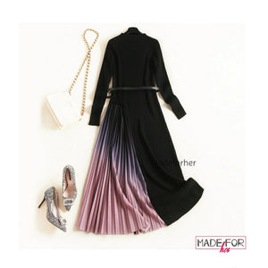 Gradient pleated Dress - Made For Her Label