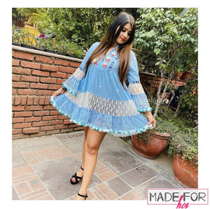 Client Shweta Kumar In Our Pom Pom Boho Dress - Made For Her Label